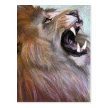 lion roaring post card