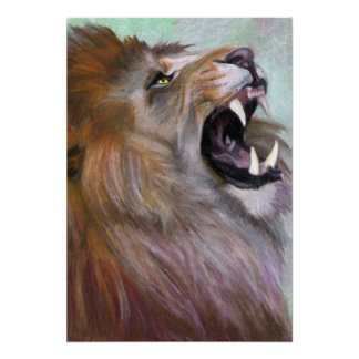 lion roaring poster