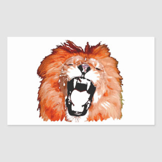 Lion Roaring Rectangle Sticker