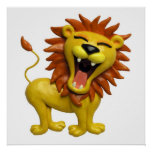 Lion Roaring Safari Baby Shower Nursery Poster