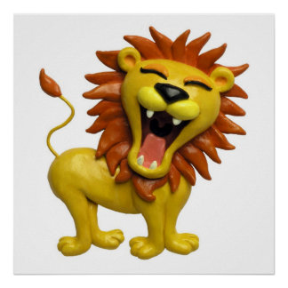 Lion Roaring Safari Baby Shower Nursery Poster