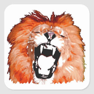 Lion Roaring Square Stickers