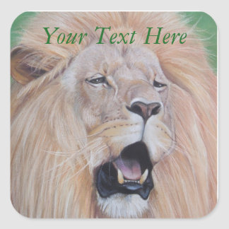lion roaring wildlife realist art big cat picture square sticker