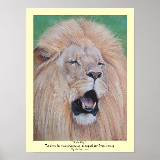 Lion roaring wildlife realist pastel art poster
