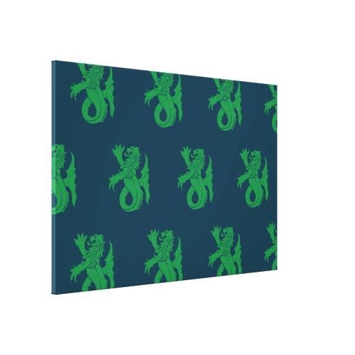 Lion Serpent Green Blue Canvas Print