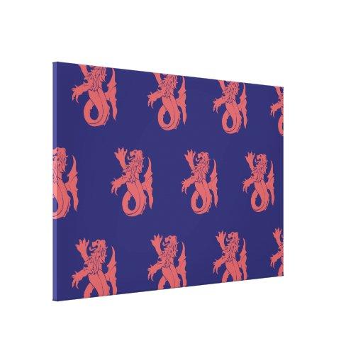 Lion Serpent Pink Purple Gallery Wrap Canvas