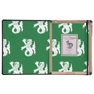 Lion Serpent White Green iPad Cover