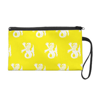 Lion Serpent White Yellow Wristlet Clutch