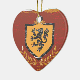 Lion Shield Coat of Arms Grunge Design Ceramic Ornament