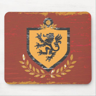 Lion Shield Coat of Arms Grunge Design Mousepad