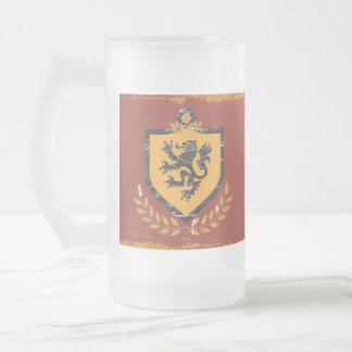 Lion Shield Coat of Arms Grunge Design Frosted Beer Mugs