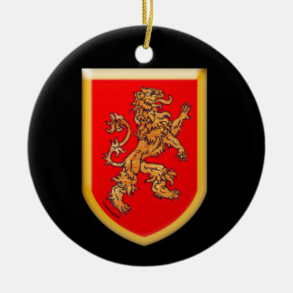 Lion Shield Double-Sided Ceramic Round Christmas Ornament