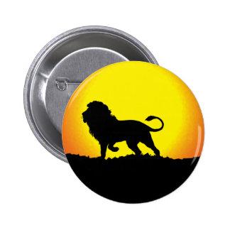 Lion Silhouette Against the Sun Button