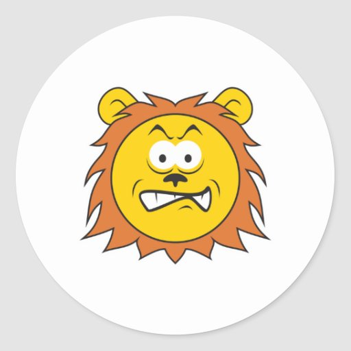 Lion Smiley Face Classic Round Sticker