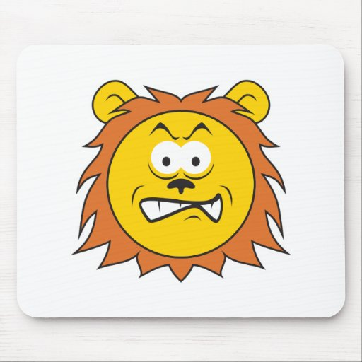 Lion Smiley Face Mouse Pad