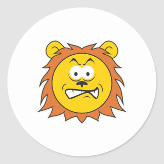 Lion Smiley Face Round Stickers