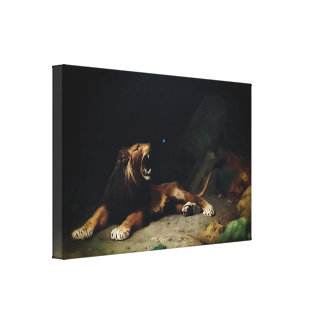 Lion Snapping at a Butterfly Canvas Print