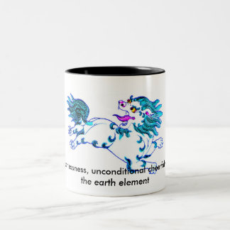lion, Snow Lion: fearlessness, unconditional ch... Two-Tone Coffee Mug