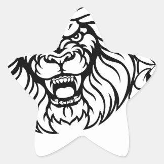 Lion Soccer Ball Sports Mascot Star Sticker