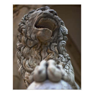lion statue Florence Italy Poster
