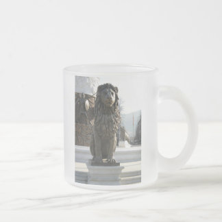 Lion Statue Frosted Glass Coffee Mug