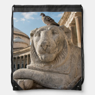 Lion statue in front of historic church drawstring bags