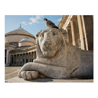 Lion statue in front of historic church postcard