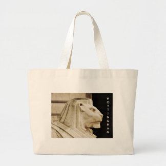 Lion statue in Nottingham Large Tote Bag