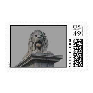 Lion statue postage stamp