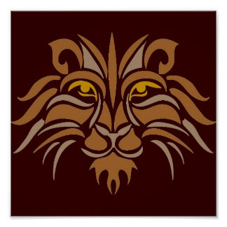 Lion Stencil in Brown Posters