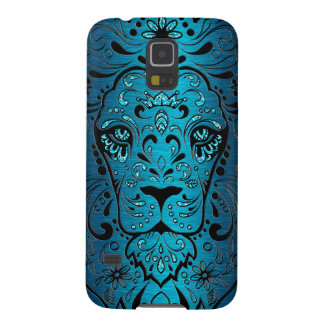 Lion Sugar Skull Metallic Blue Background Galaxy S5 Cover