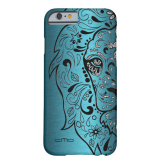 Lion Sugar Skull On Turquoise metallic Texture Barely There iPhone 6 Case