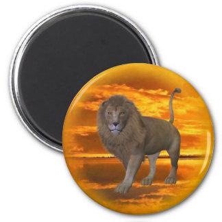 Lion Sunset 2 Inch Round Magnet