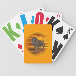 Lion Sunset Bicycle Playing Cards