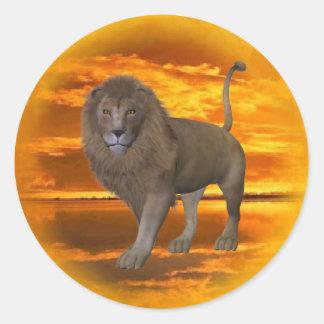 Lion Sunset Classic Round Sticker