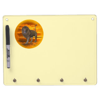 Lion Sunset Dry Erase Board With Keychain Holder