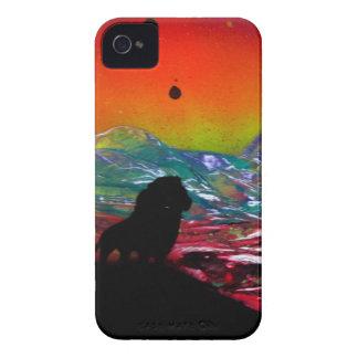 Lion Sunset Landscape Spray Paint Art Painting iPhone 4 Cover