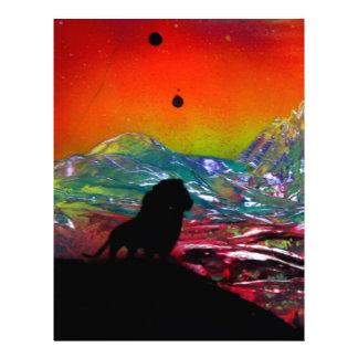 Lion Sunset Landscape Spray Paint Art Painting Letterhead