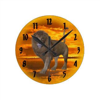 Lion Sunset Round Clock