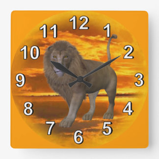 Lion Sunset Square Wall Clock