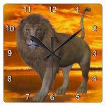 Lion Sunset Square Wallclock