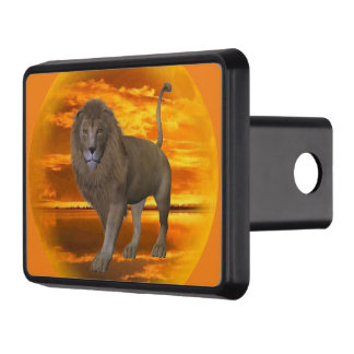 Lion sunset trailer hitch covers