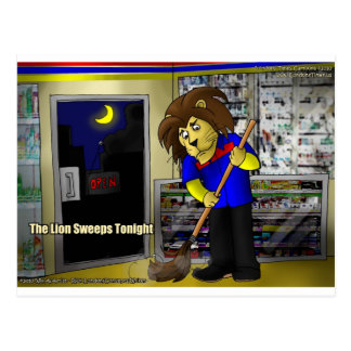 Lion Sweeps 2nite Funny Tees Gifts Mugs Etc Postcard