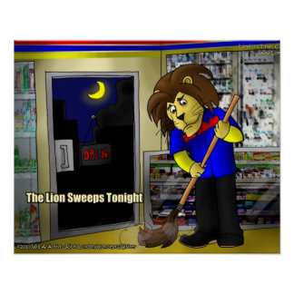 Lion Sweeps Tonight Funny Posters by Londons Times