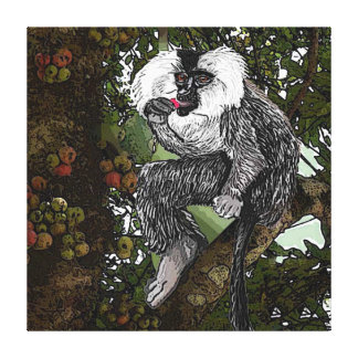 Lion  Tailed  Macaque Eating A Fig,  Watercolor Canvas Print