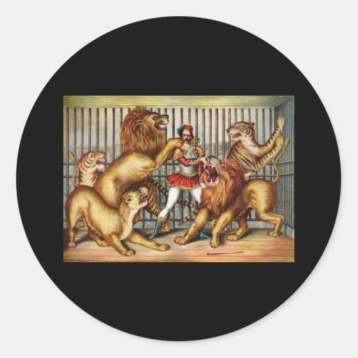Lion tamer classic round sticker