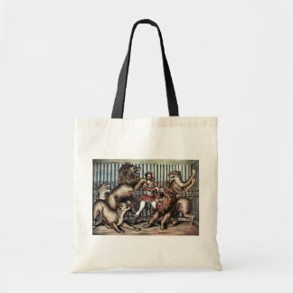Lion Tamer In Cage With Lions Circus Poster Bag