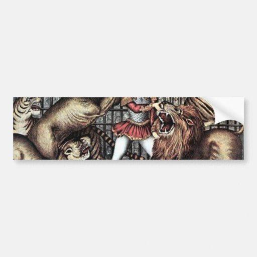 Lion Tamer In Cage With Lions Circus Poster Car Bumper Sticker