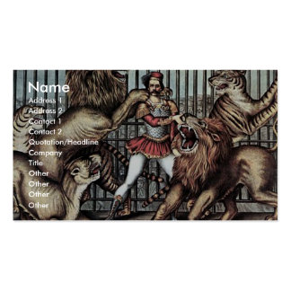 Lion Tamer In Cage With Lions Circus Poster Business Card