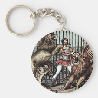 Lion Tamer In Cage With Lions Circus Poster Keychains